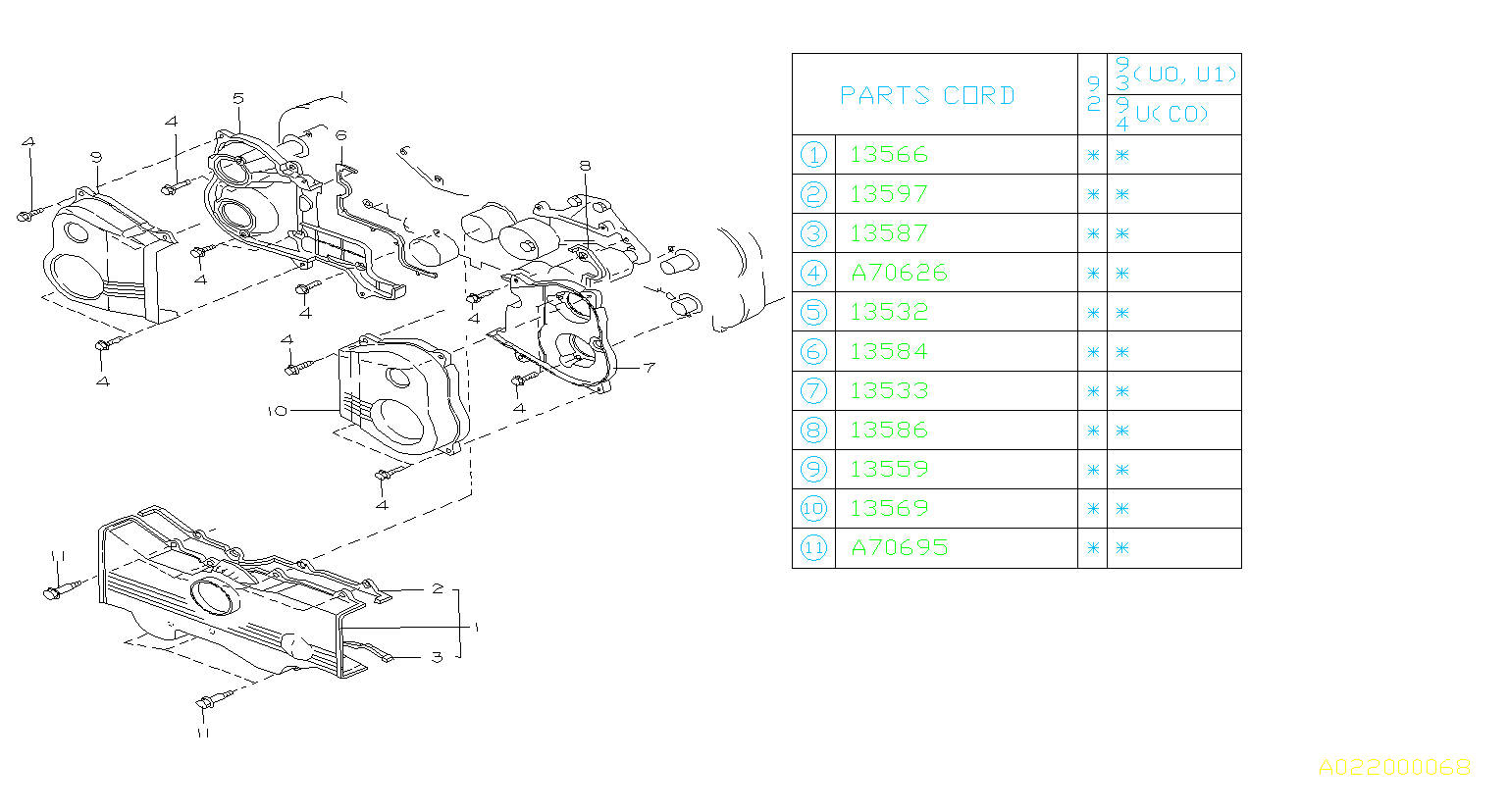 Diagram TIMING BELT COVER. for your Subaru