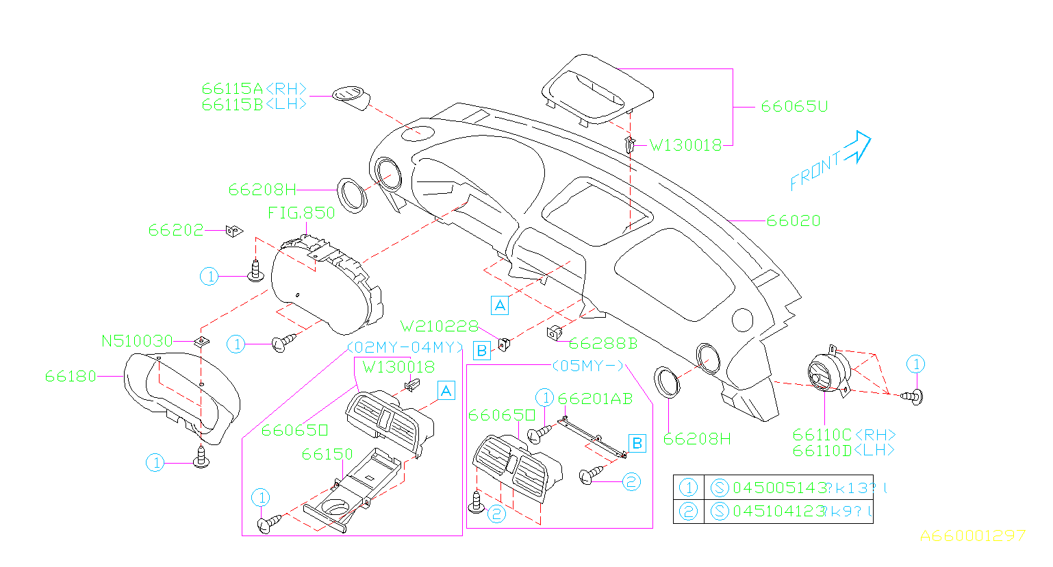 Diagram INSTRUMENT PANEL. UPPER. for your 2003 Subaru Impreza (205) 5MT 4WD WRX Wagon